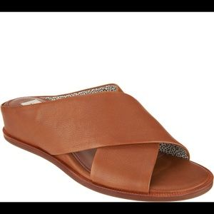Tan leather wedge slide sandals